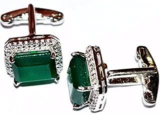 925 Sterling SIlver Emerald Cufflinks Royal 10 x 14 Emerald Cufflinks