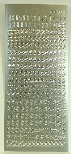 Sticker Zahlen, silberfarbig - 9608 - Ideal zum Verzieren und Gestalten von Kerzen und Papierkarten.