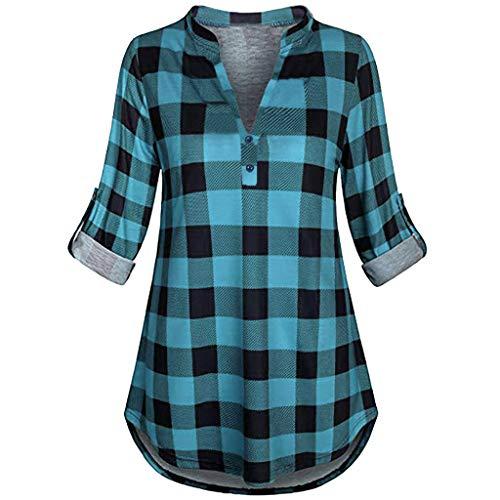 SALUCIA Damen Karierte V Ausschnitt Langarm Lang Bluse Tunika mit Knopfleiste Casual Lockere Karo Longbluse Langarmshirt Hemd Oberteile Top