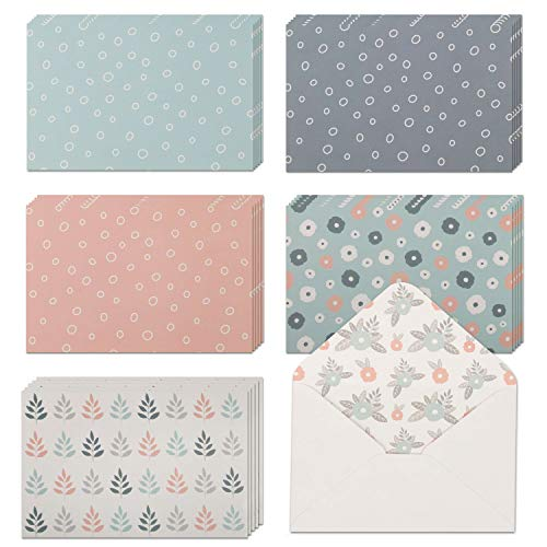 """40 Blank Note Cards with Envelopes & Stickers   4"""" x 6"""" Bulk Boxed Set of all Occasions Greeting Notecards   Assortment of Colored Stationary Plain Greeting Cards."""