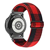 WONMILLE Elastic Bands Compatible with Samsung Galaxy Watch 3 41mm/Galaxy Watch Active/Active 2, 20mm Stretchy Loop Adjustable Wristband Strap for Samsung Galaxy Watch 42mm (Red Buffalo Plaid)