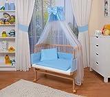 WALDIN Baby Beistellbett komplett mit Ausstattung, natur unbehandelt, 6 Farben wählbar,blau/weiß