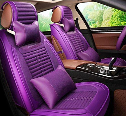YL Flachs Auto Kissen Umweltschutz Vier Jahreszeiten Gesundheit Kissen 3D Split Leder Sitzbezug , Purple,purple