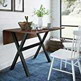 Nathan James 41001 Kalos Solid Wood Drop Leaf Folding Kitchen Dining or Rustic Console Table, Dark Brown/Black