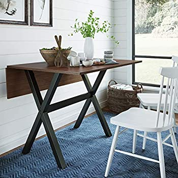 Nathan James Kalos Solid Wood Drop Leaf Folding Kitchen Farmhouse Dining Room or Space Saving Console Table and Desk Rustic Walnut/Black