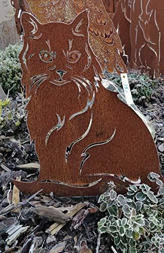Gartendeko Fockbek Metallfigur Stecker Katze (sitzend) Höhe ca. 45 cm Main Coon Gartenstecker Rost Deko Edelrost