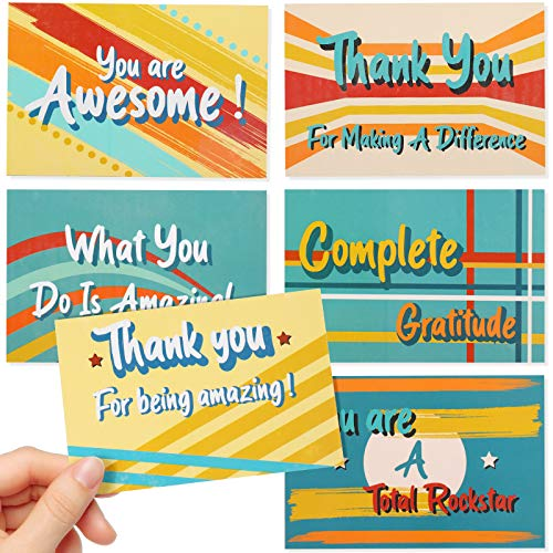 60 Pieces Large Appreciation Postcard Colorful Thank You Card You Are Awesome Greeting Card Thank You for Making a Difference Card for Student Volunteer Doctor, Appreciation Craft Present, 4 x 6 Inch