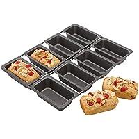 Kitchencraft Chicago metálico profesional antiadherente Mini Molde para tartas, 8tazas, 32,5x 23cm (3x 9cm), color gris
