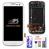 for Samsung Galaxy S3 i9300 i9301 i535 LCD Replacement Touch Screen Digitizer TFT Display Touchscreen Glass with Frame Assembly Kits,(NOT AMOLED) Include Tempered Glass(White)