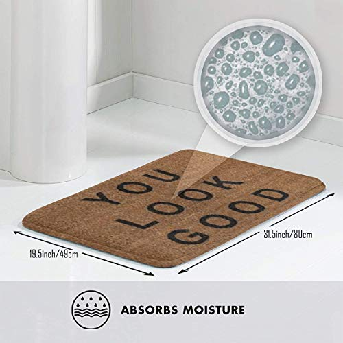 HUOPR5Q You Look Good! 20''x 32'' Bath Mat Doormat Non Slip Absorbent Bath Rug Carpet for Indoor/Outdoor/Kitchen/Entry/Bathroom