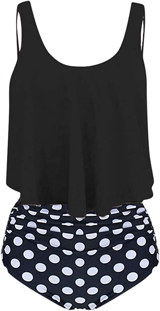 NREALY Bikini Women Two Piece Plus Size Sexy Backless Halter Dot Printed Swimwear Set