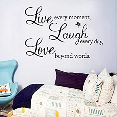 Vinyl Decal Live Every Moment, Laugh Every Day, Love Beyond Words Wall Stickers Motivational Wall Decals,Family Inspirational Wall Stickers Quotes