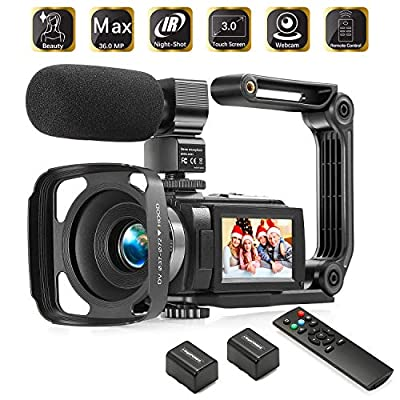 Camcorder 1080P Video Camera KOT 36MP 3.0 Inch IPS Touch Screen 16X Digital Zoom IR Night Vision HD Vlogging Camera Digital Video Camera Camcorder with Microphone Handheld Stabilizer Remote Control from KOT