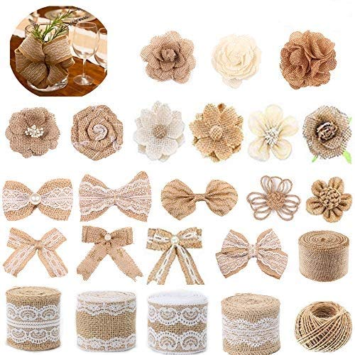 Enetos Natural Burlap Flowers Set,DIY Party Decor Include Lace Burlap Ribbon Roll,for Decor Home Embellishment,Wedding,Party,Christmas, Craft, Wreath