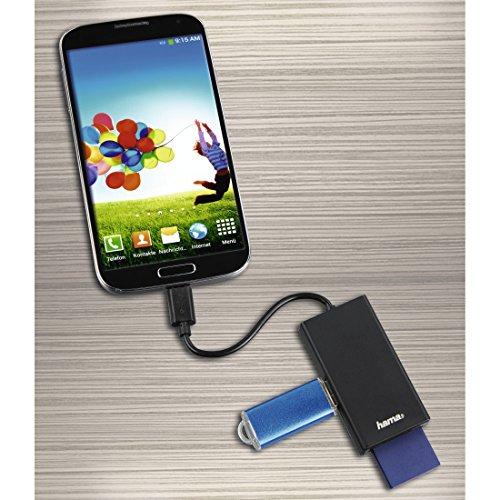Hama USB-C Kartenleser (SD-/microSD-Karten, Hub mit USB-A-Port, OTG-fähig, USB Type-C für Smartphone/Tablet/PC/MacBook, externes Multi-Kartenlesegerät mit High-Speed-Datentransfer) schwarz