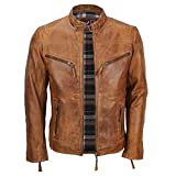 Mens Fitted Tan Brown Soft Real Leather Biker Jacket Vintage Zipped Smart Casual Coat [XL,Tan...
