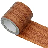 Rbenxia 1 Roll 15 Feet Repair Tape Patch Wood Textured Grain High Adhesive Repair Tape for Furniture Floor Beautification and Home Decoration (Red Oak)
