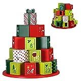 BAKAJI Calendario dell' Avvento di Natale in Legno con 24 Cassetti Numerati per Sorpresa Decorazioni Addobbi Natalizi Casa (Pacchi Regalo)