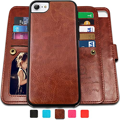 CASEOWL iPhone 8 Case, iPhone 7 Wallet Cases with Detachable Slim Case with 9 Card Slots,Kickstand,Strap for iPhone 7/8-4.7 inch, 2 in 1 Folio Flip Premium Leather Magnetic Removable TPU Case(Brown)