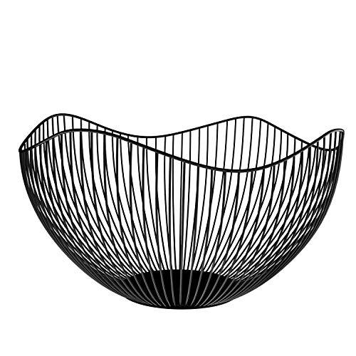 NUTRIUPS Metal Fruit Basket, Iron Wire Fruit Basket, Fruit Bowls, Fruit and Vegetable Storage Basket with Wave Shape Design for Kitchen- Decorative Countertop Centerpiece (Black)