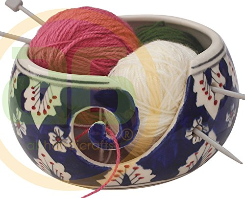 "Today's Deals - 7""Ceramic Yarn Bowl for Knitting, Crochet for Moms - Beautiful Gift on All Occasions. A Perfect Gift for Moms and Grandmothers (Big Yarn_22)"