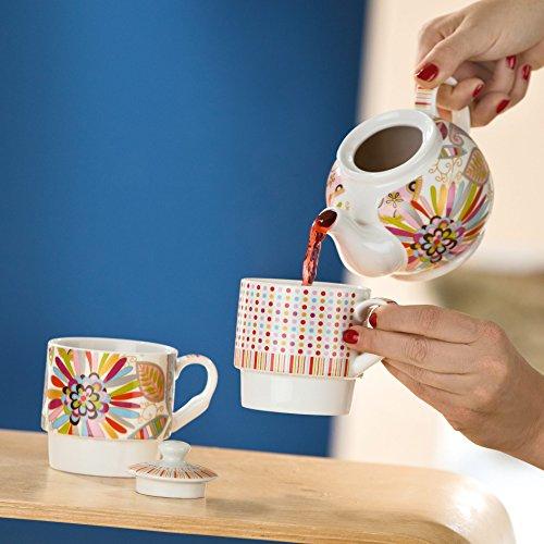 "GILDE - Porzellan Teeset "" TEA for TWO "" Blütenblätter - farbig - in Geschenkverpackung"
