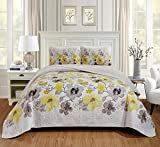 Luxury Home Collection 2 Piece Twin/Twin XL Quilted Reversible Coverlet Bedspread Set Floral Printed Yellow White Gray
