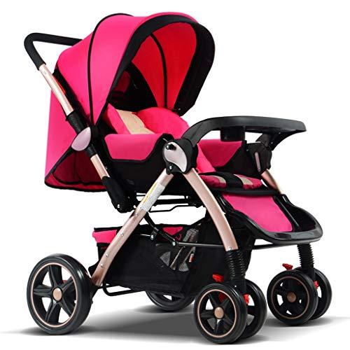STRR Kinderwagen, Cabrio Reclining Spaziergänger, Faltbare und bewegliche Pram Carriage Sportkinderwagen, 5-Punkt-Gurt und High Capacity Basket (Color : Pink)