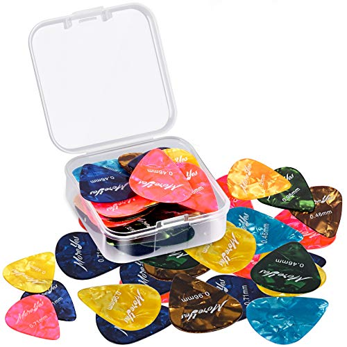 MOREYES Gitarrenplektren für Akustik-, Elektro- oder Bass-Gitarre 0,46, 0,71, 0,85, 0,96, 1,2 mm, 28 Stück