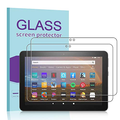 Janmitta Protector de Pantalla para Amazon Fire HD 8/ Fire HD 8 Plus/Fire HD 8 Kids Edition 2020 [2 Piezas], 9H Dureza [Alta Definicion] Cristal Vidrio Templado Film