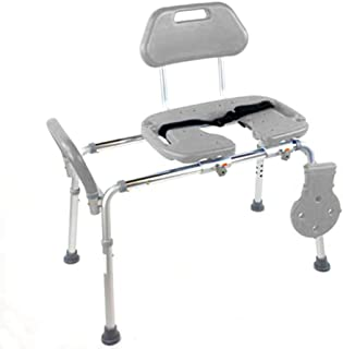 HydroGlyde Premium Heavy Duty Sliding Bathtub Transfer Bench and Shower Chair with Cut-Out SEAT. Adjustable Legs and Safety Belt. Quick Tool-Less Assembly (Gray)