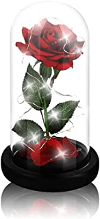 Beauty and The Beast Rose,Enchanted Red Silk Rose and Glass Dome Led Light with Fallen Petals Housewarming Gift for Valentine's Day Wedding Anniversary Mother's Day Party Supplies
