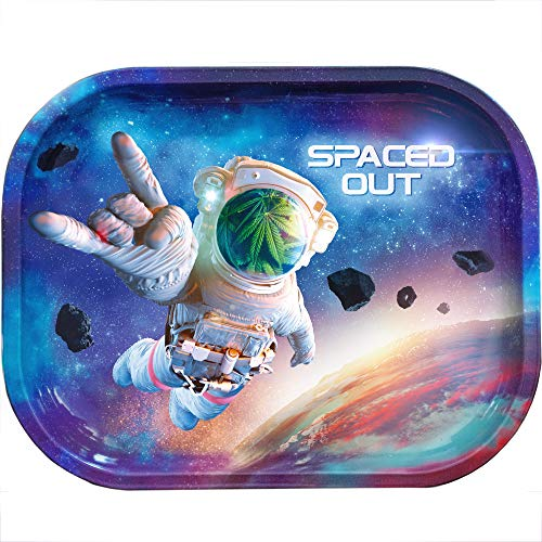 Metal Rolling Tray (Spaced Out, Travel Size) Rolling Trays with Design for Rolling Papers, Rolling Machine, stash Box, raw Cones | Small | Galaxy Cool Stuff | ash Tray Sets | Accessories for Smoking