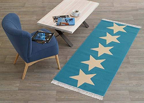 HANSE Home Designer Velours Läufer Sterne 80x200 cm Blau Creme | 102346
