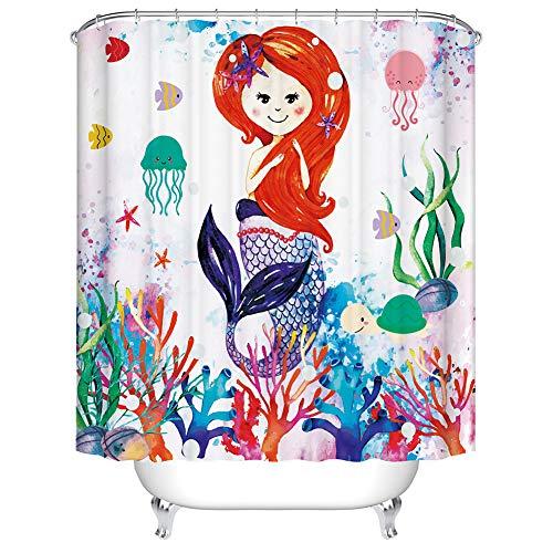 Boyouth Cortinas de ducha con estampado digital de sirena, peces y corales, para decoración de baño, cortina de baño de tela impermeable de poliéster con 12 ganchos, 70 x 70 pulgadas, multicolor