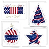 Patriotic USA Christmas New Years Cards - 24 Holiday Greeting Notecards And Envelopes - Four Seasonal American Designs