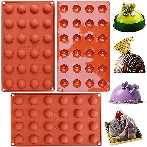 NALCY Kleine Halbkugel Silikonform mit 24 Vertiefungen, Backform Backwerkzeug, Silikon Backform/Muffinform für Muffins für Ihre Schokoladendesserts, Eisbomben, Mini Teacake 3 Stck