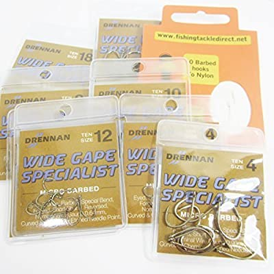 FTD - Min 30 (3 packs of 10) DRENNAN WIDE GAPE SPECIALIST MICRO BARBED (EYED) Single Size & Combination Fishing Hooks Sizes 4 to 18 - Comes with 10 FTD Barbed Hooks to Nylon (4 packs - 1 x size 12 14 16 & 18)