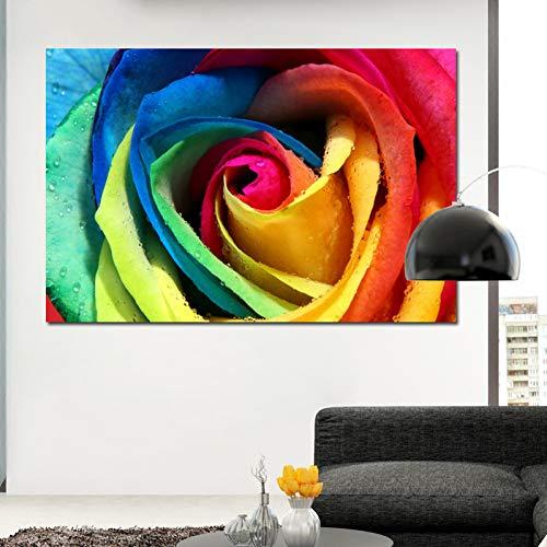 AJKCBAQ kunst muur Kunst Canvas Prints Bloemen Schilderijen Modulaire Foto Kleurrijke Rozen Art Print Poster Voor Home Decor Schilderen