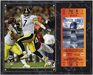 Pittsburgh Steelers Super Bowl XLIII Ben Roethlisberger Plaque with Replica Ticket - NFL Player Plaques and Collages
