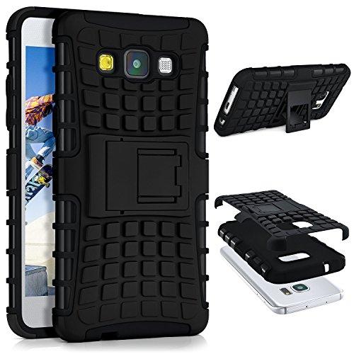 OneFlow® Outdoor Back-Cover aus Silikon + Kunststoff [Double-Layer] passend für Samsung Galaxy A5 (2015) | Extrem beständiger 360° Schutz, Schwarz