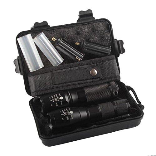 Longra Flash,2pc X800 Linterna táctica LED militar Grado G700 antorcha de la lámpara (Caja es de color verde)