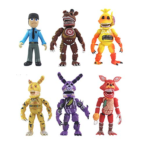YLEAFUN Toys Unique New Inspired by Five Nights FNAF Set of 6 pcs, More Than 5 inches [Nightmare Foxy/Freddy/Bonnie/Fazbear/Chica]