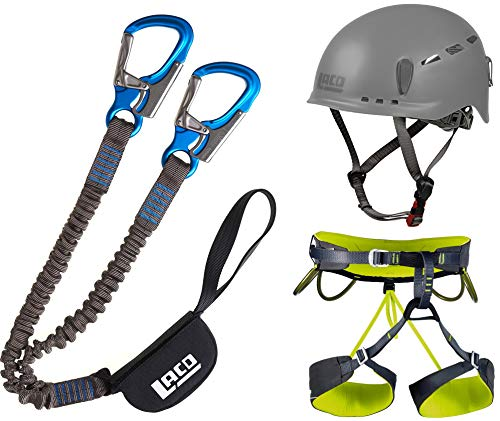 LACD Klettersteigset Pro + Klettergurt Camp Größe XL + Helm Protector 2.0 Phantom