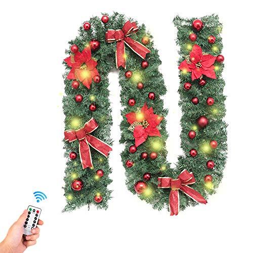 Fansu Weihnachts Girlande Deko, Tannengirlande Batterie Remote 8 Modus Lichterkette Weihnachten Dekoration Meter für Innen und Außen Verwendbar(2.7m) (2.7m/106inch,2,7 m rot Plus Dekoration)