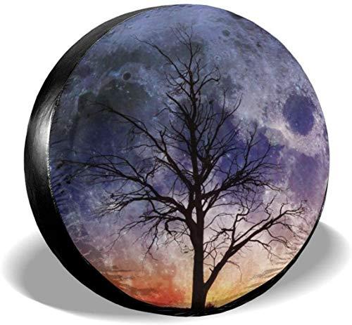 MODORSAN Night Planet Tree, Cubierta de neumático de Rueda de Repuesto, poliéster, Cubiertas de Rueda universales para Jeep, Remolque, RV, SUV, camión, Accesorios, 14 Pulgadas