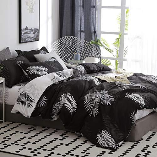 Omela Bettwäsche 140x200 Schwarz Weiß Wendebettwäsche Palmenblätter Muster Bettbezug 2 Teilig Microfaser Tropische Blätter Deckenbezug mit Reißverschluss und Kissenbezug 70x90 cm