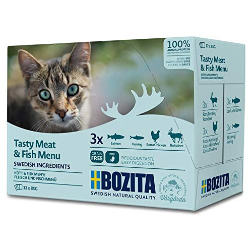 Bozita Multibox Fleisch & Fisch-Menü | 12 x 85g Katzenfutter nass