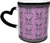 Tazas de café Sphynxiebonez Art Nouveau Back to Back in Lavanda Sensible al calor Color Taza cambiante en el cielo Taza de cerámica Regalos personalizados para los amantes de la familia Amigos