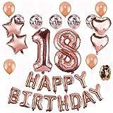 18 Cumpleaños Globos Decoración Oro Rosa - Oro Rosa Happy Birthday Pancarta, 18 Globos de Feliz cumpleaños Globo de Confeti de Latex, Globos de Estrella, para Fiesta Decoraciones
